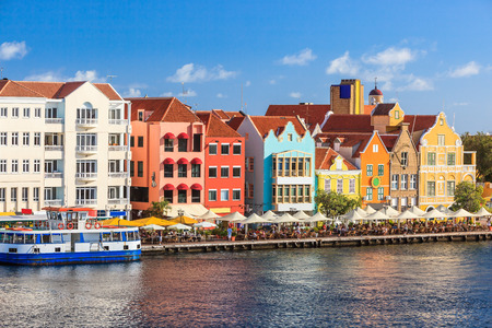 antilles: Colorful houses of Willemstad in Curacao, Netherlands Antilles.