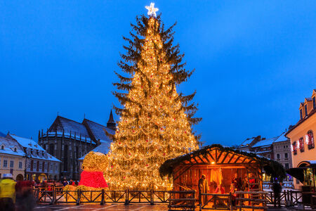 Old city square of Brasov during Christmas, Romania Stock Photo
