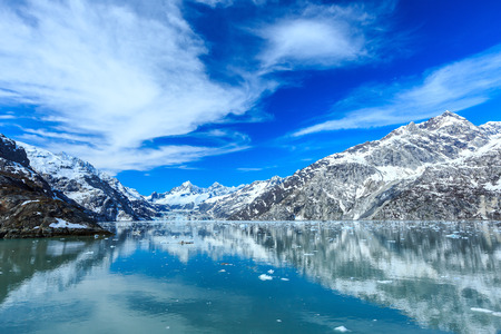 bay: Panoramic view of Glacier Bay national Park. John Hopkins Glacier with Mount Orville and Mount Wilbur in the background. Alaska