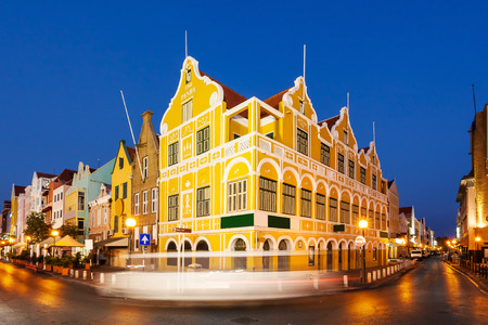 antilles: Downtown Willemstad at twilight, Curacao, Netherlands Antilles Editorial