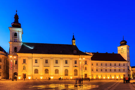 small town life: Main square downtown Sibiu. Hermannstadt, Romania
