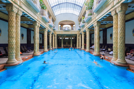 BUDAPEST, HUNGARY, - September. 5th. 2014: Gellert Thermal Bath, traditional Hungarian thermal bath complex with spa treatments. The bath house has beautiful Art Nouveau architecture dating back to 1918 에디토리얼