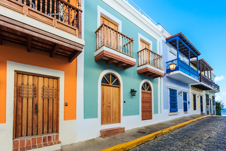 the old architecture: Street in old San Juan, Puerto Rico