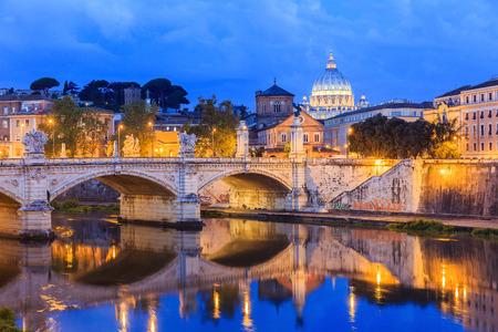vittorio emanuele: San Pietro basilica and Ponte Vittorio Emanuele  Rome, Italy Stock Photo