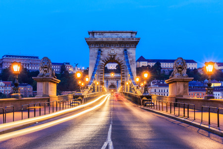 szechenyi: Chain Bridge (Szechenyi) at twilight with traffic light trails. Budapest, Hungary