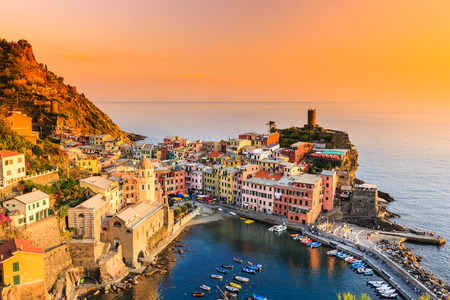 vernazza: Vernazza village at sunset. Cinque Terre National Park, Liguria Italy.