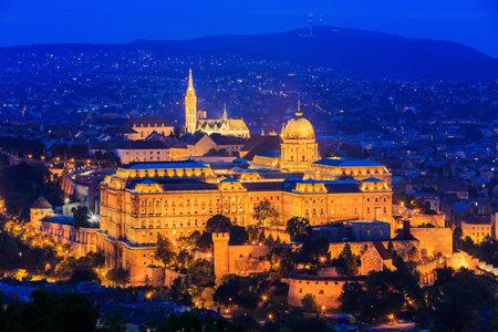 buda: Royal Palace of Buda and Matthias church. Budapest, Hungary