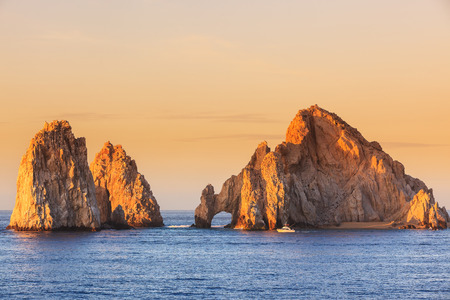 natural arch: The arch of Cabo San Lucas at sunrise. Mexico