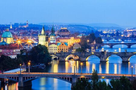 vltava: Prague at Twilight, view of Bridges on Vltava. Czech Republic