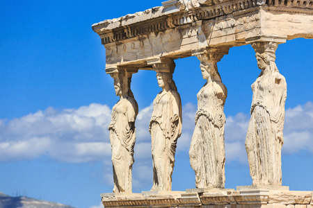 ancient buildings: Detail of the south porch of Erechtheion with the Caryatids. Athens, Greece Stock Photo