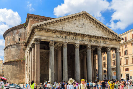 influential: Rome, Italy - June 21, 2014: The Pantheon. It is the most preserved and influential building of ancient Rome. It is a Roman temple dedicated to all the gods of pagan Rome.
