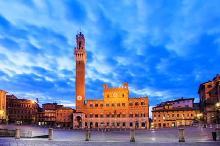 siena italy: Palazzo Publico and Piazza del Campo at twilight. Siena, Italy Stock Photo