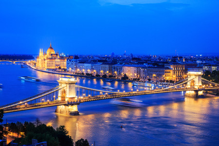 night dusk: Panorama of Budapest, Hungary, with the Chain Bridge and the Parliament Stock Photo