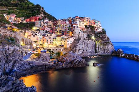 cinque terre: Manarola village at twilight. Cinque Terre National Park, Liguria Italy Stock Photo