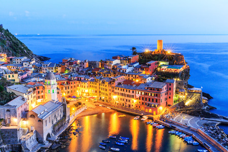 Vernazza village at twilight. Cinque Terre National Park, Liguria Italy