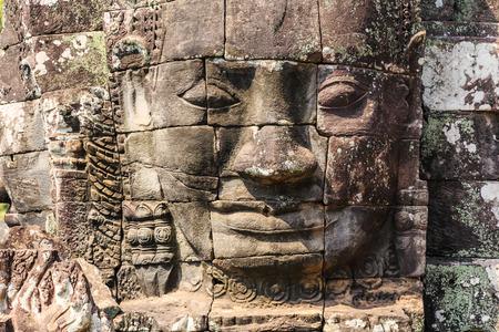 bayon: Stone face of Bayon Temple at ancient Angkor. Siem Reap, Cambodia