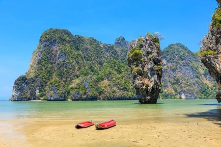 phangnga: Ko Khao Phing Kan and Ko Tapu islands known as James Bond Island. Phangnga Bay, Thailand