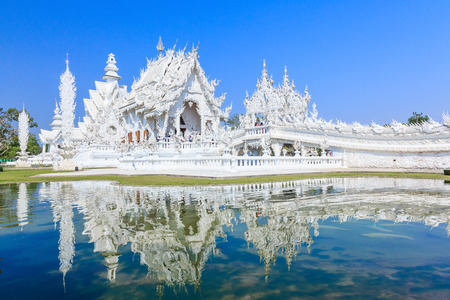 temples: Wat Rong Khun, known as the White Temple. Chiang Rai, Thailand