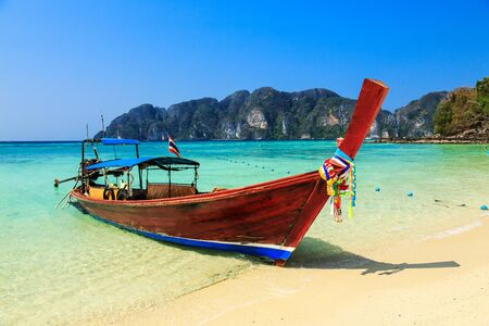 long tail: Long tail boat at Koh Phi Phi Island, Krabi, Thailand.