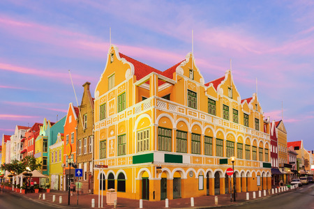 tropical island: Downtown Willemstad at twilight, Curacao, Netherlands Antilles Stock Photo