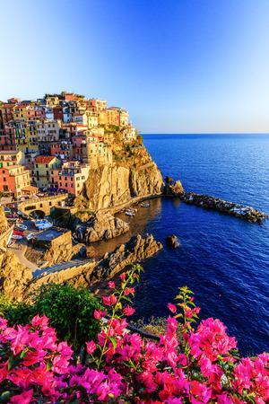 hotel building: Manarola village at sunset. Cinque Terre National Park, Liguria Italy. Stock Photo