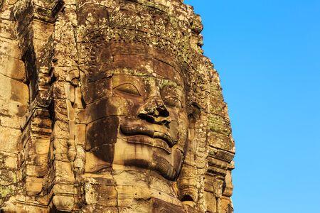 bayon: Stone face towers of Bayon Temple at ancient Angkor. Siem Reap, Cambodia