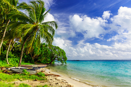island: Tabuaeran beach on the Fanning Island, Republic of Kiribati Stock Photo