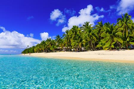 Strand op het tropische eiland helder blauw water. Dravuni Island, Fiji.