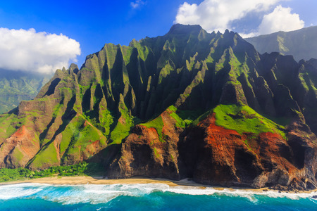 hawaii: Aerial view of spectacular Na Pali coast, Kauai, Hawaii Stock Photo