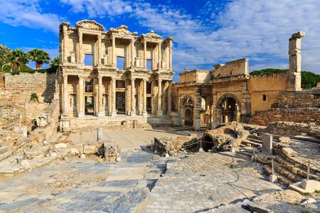 architrave: Facade of ancient Celsius Library in Ephesus, Turkey