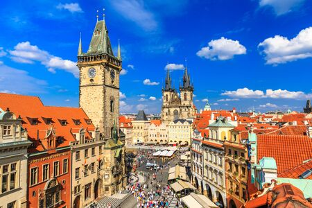 tyn: Prague Tyn Cathedral and Clock Tower, Czech Republic Editorial