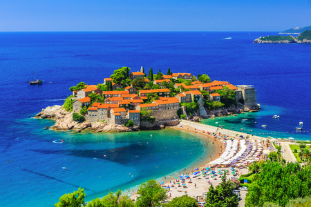 sveti: Sveti Stefan island in Budva, Montenegro Stock Photo