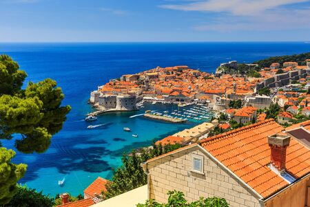 croatia dubrovnik: A panoramic view of the walled city, Dubrovnik Croatia