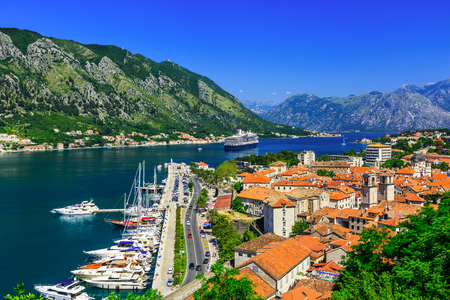 Kotor bay and Old Town from Lovcen Mountain. Montenegro Stok Fotoğraf - 49696164