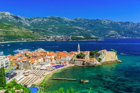 Panoramic view of the old town Budva, Montenegro