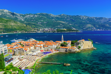 Panoramic view of the old town Budva, Montenegro