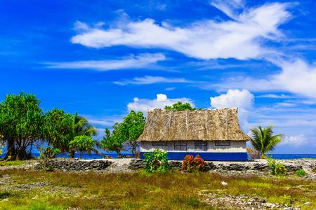 romance sky: Tabuaeran, Fanning Island traditional house. Republic of Kiribati Stock Photo