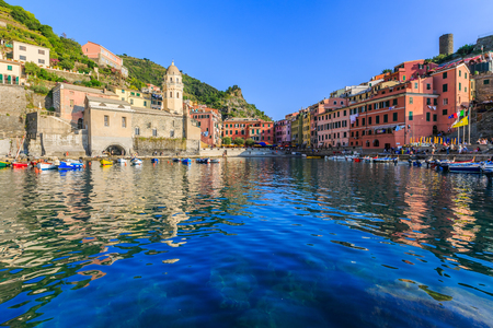 Cinque Terre, Vernazza. Italy. Fishing village in Cinque Terre national park, Italy. Stock Photo