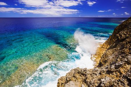 niue: Alofi, Niue. Blow hole on the rugged shores of Niue.