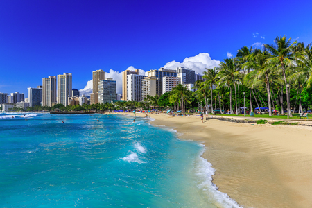 seascape: Honolulu, Hawaii. Waikiki beach and Honolulus skyline. Stock Photo