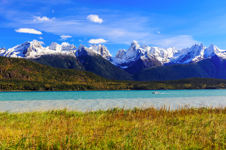 gold rush: Skagway, Alaska. Chilkat Peninsula, Chilkat Inlet and the Sinclair Mountain in the background.