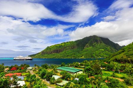 polynesia: Moorea, French Polynesia. Opunoha Bay from the Magic Mountain.
