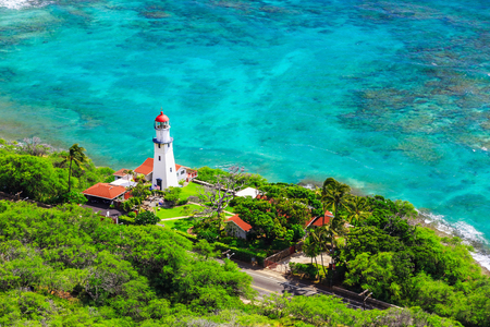 lighthouses: Honolulu, Hawaii. Diamond head Lighthouse view from the top.