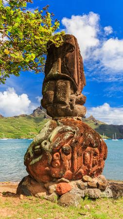 french polynesia: Nuku Hiva, Marquesas Islands. Tiki on the bay of Nuku Hiva.