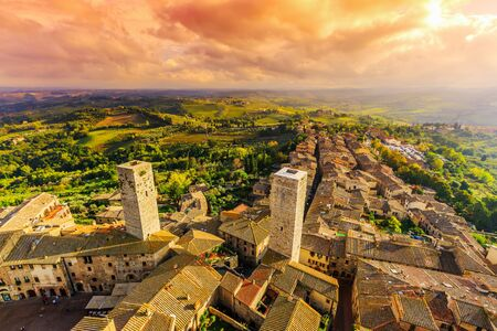 arial view: San Gimignano, Italy. Medieval village arial view from one of its towers. Tuscany