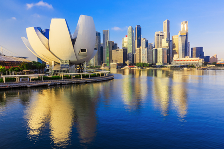 districts: Singapore City, Singapore. Marina Bay  and the skyline. Editorial