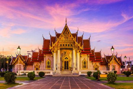 thai buddha: Bangkok, Thailand. The Marble Temple, Wat Benchamabopit Dusitvanaram at sunset.