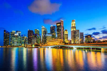 Singapore City, Singapore. Skyline at the Marina Bay. 新聞圖片