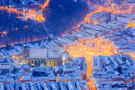 Brasov, Romania. Arial view of the Black Church and city square during winter.