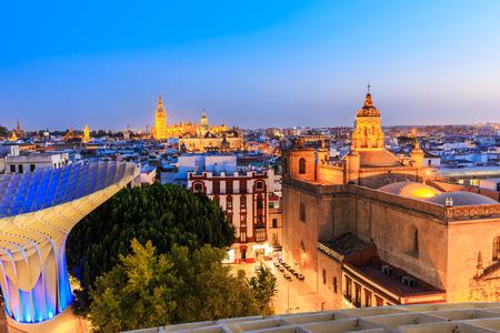 Seville, Spain. Old quarter skyline at twilight.